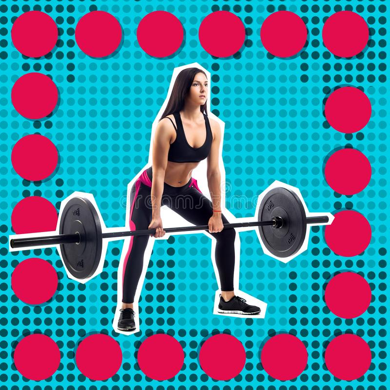 Young sporty woman fitness model doing deadlift royalty free stock images