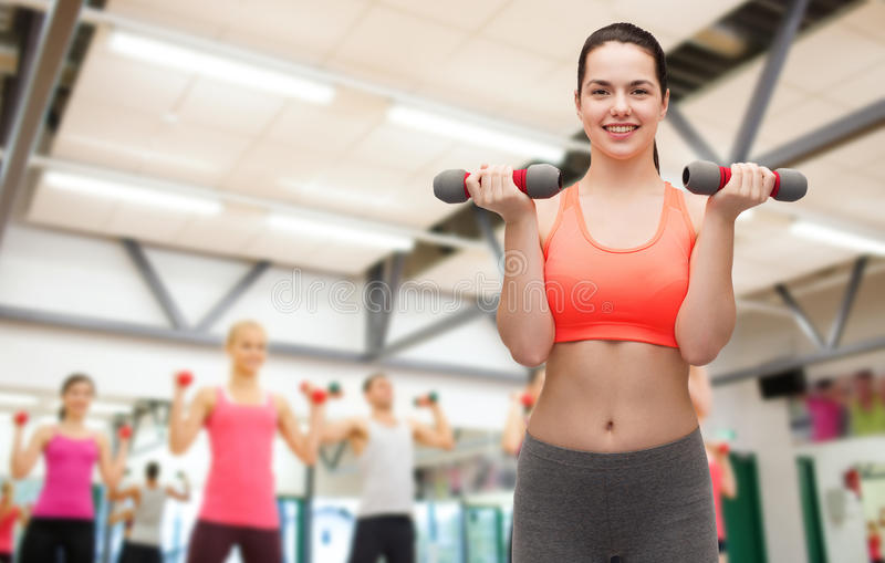 Young Sporty Woman With Light Dumbbells Stock Photo
