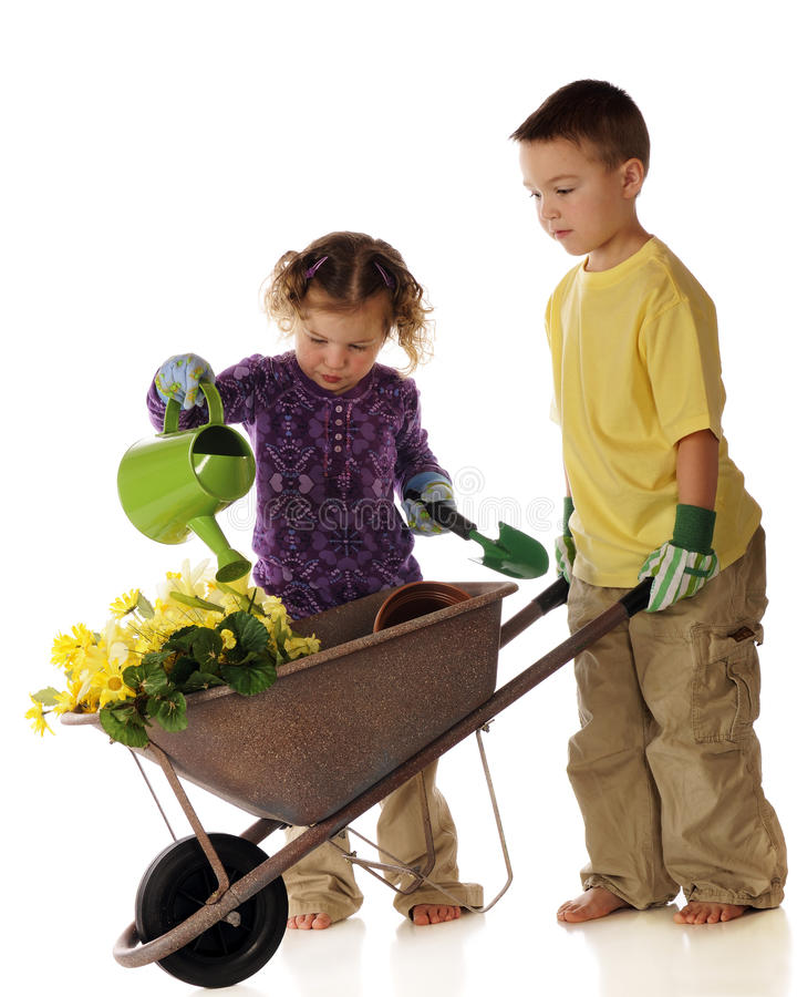 Young Spring Gardeners stock photo