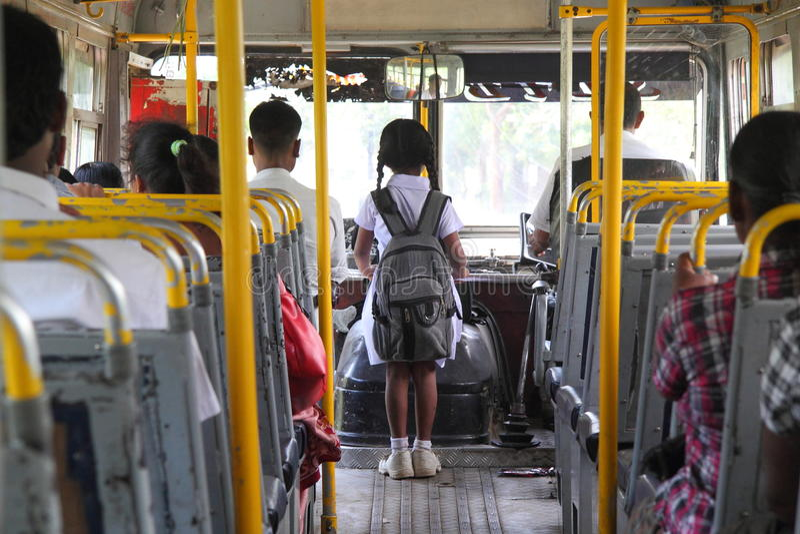 Young sri lankan girl going to school royalty free stock image