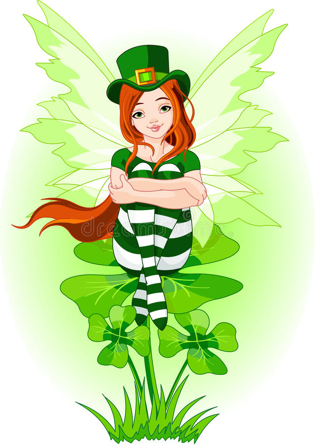Young St. Patrick's fairy vector illustration