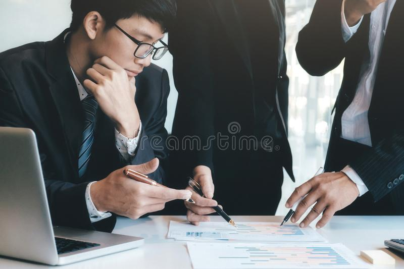 Businessmen teamwork brainstorming meeting. royalty free stock photos