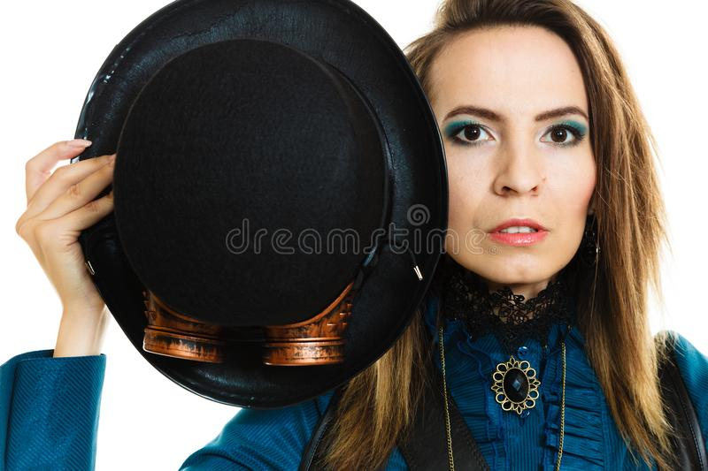 Steampunk girl with hat. stock photos