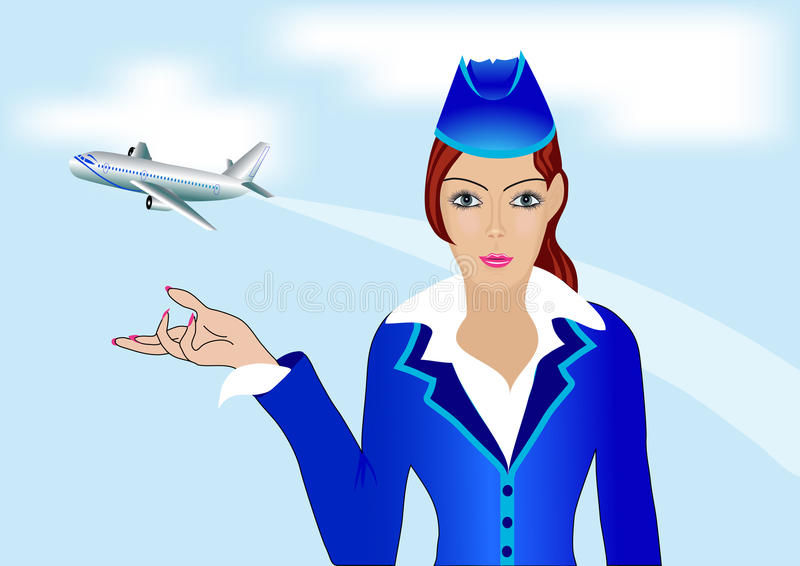 Рисунки стюардесса возле самолета
