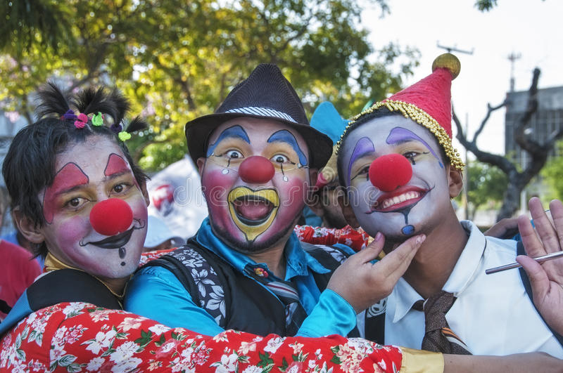 Young Street Clowns Editorial Stock Image
