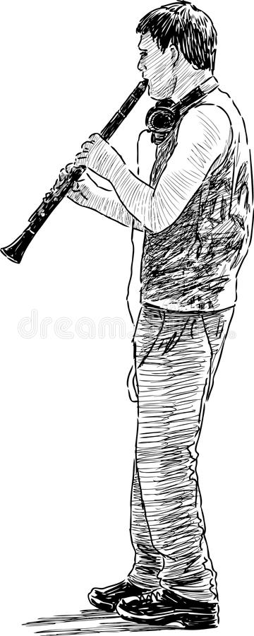 Young street musician stock illustration