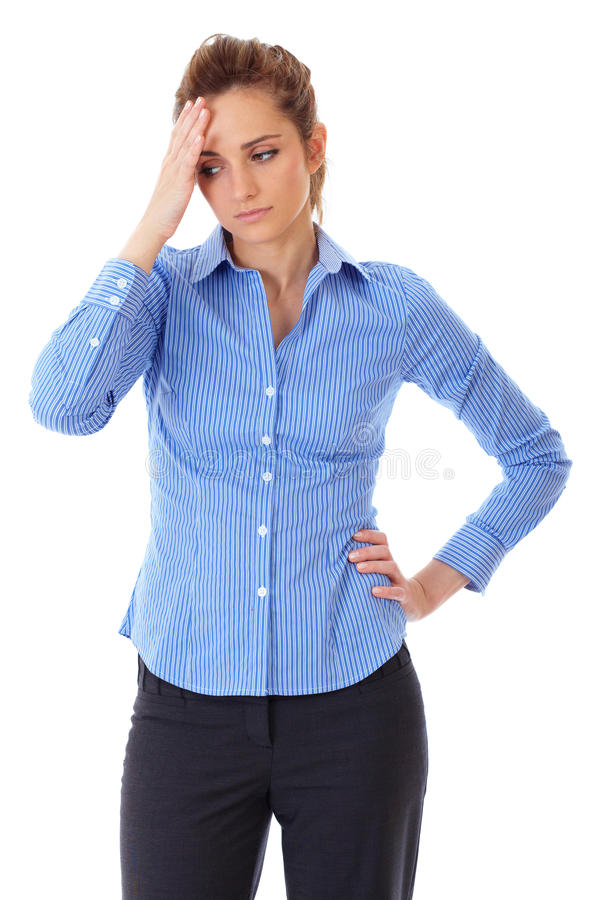Young Stressed Businesswoman, Isolated On White Royalty Free Stock Images
