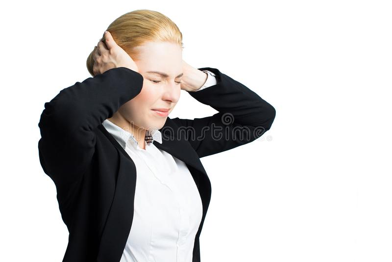 Young stressed businesswoman stock photography