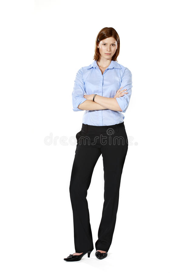 Young strict businesswoman in a defensive position stock photos