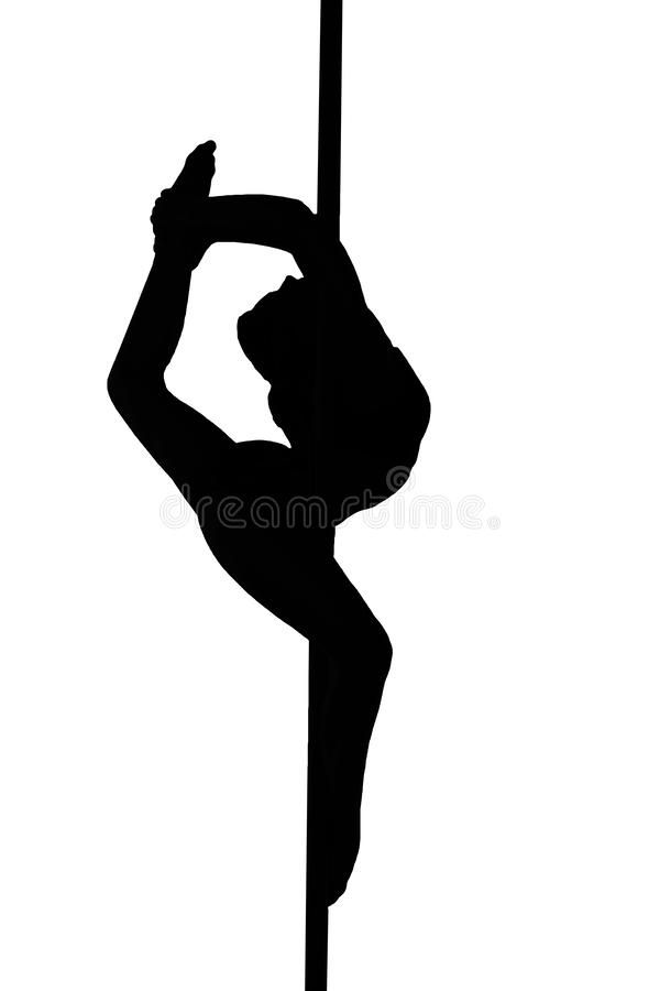 Young stripper girl hanging in a dancing pole and bending her leg black illustration isolated on a white background. A young stripper girl hanging in a dancing vector illustration
