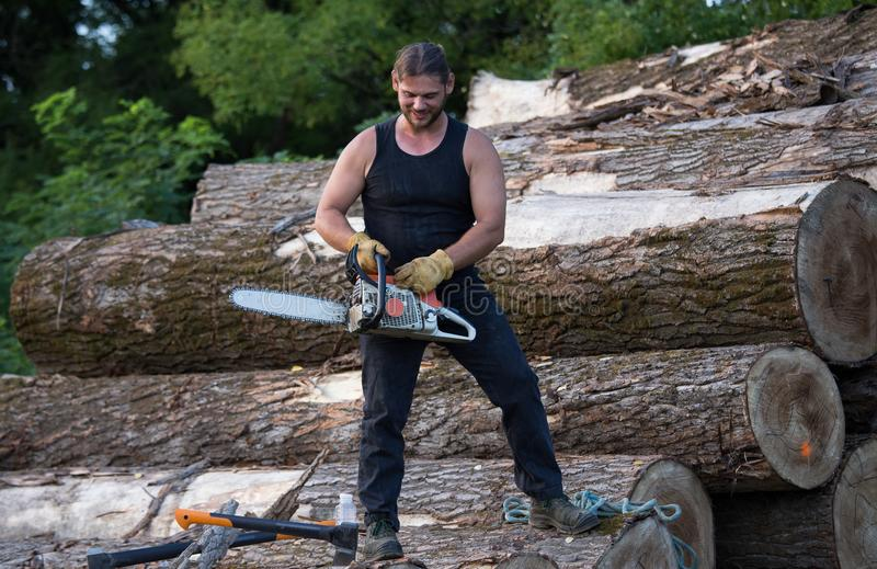 Lumberjack with chainsaw working on logs. Young strong lumberjack working with chainsaw on wooden logs pile royalty free stock photo