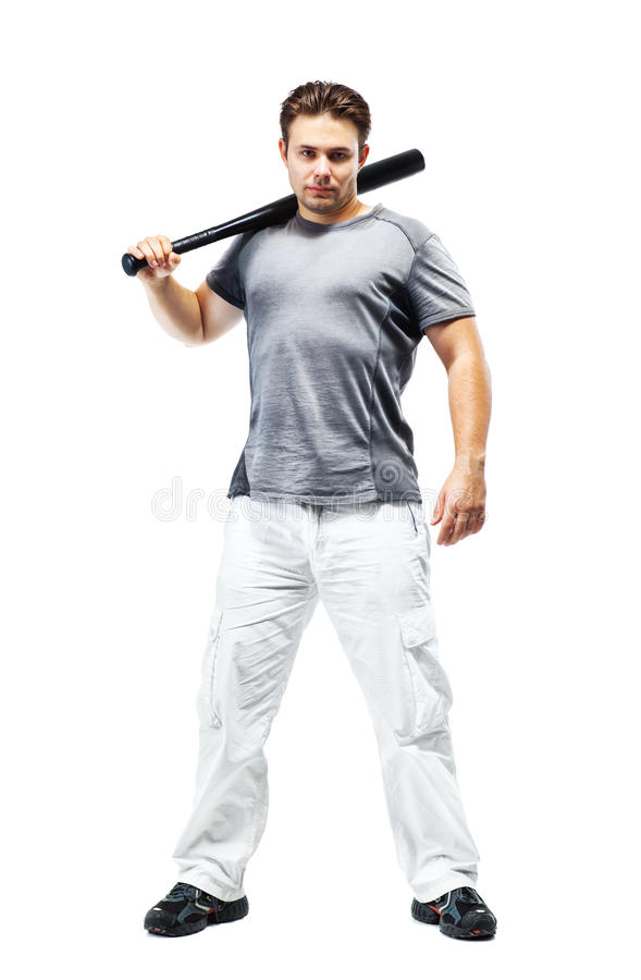 Young strong man with bat stock image