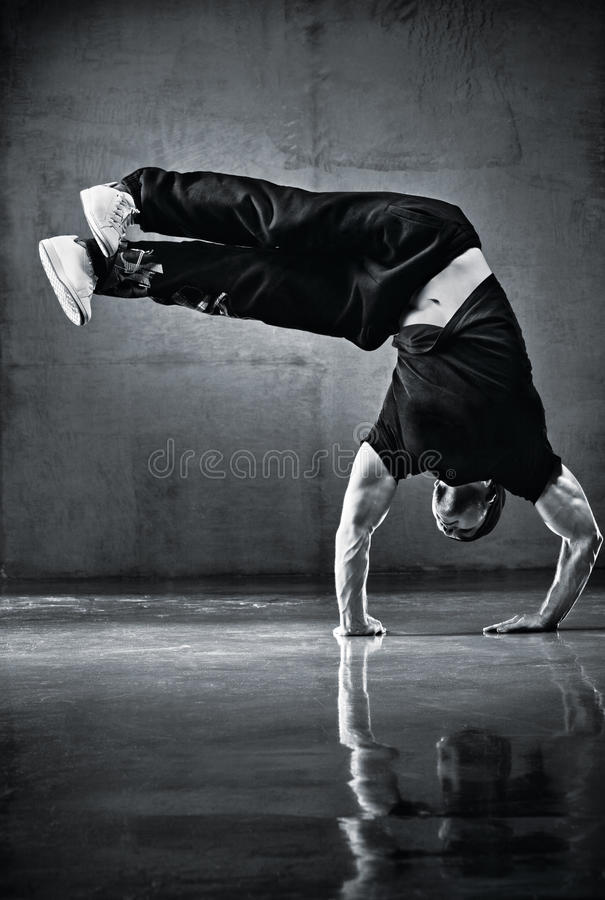Young strong man break dance. Black and white royalty free stock photos