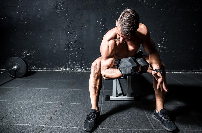Young strong sweaty man biceps workout training with heavy dumbbell in the gym dark image with shadows real people. Young strong muscular sweaty man with big royalty free stock images