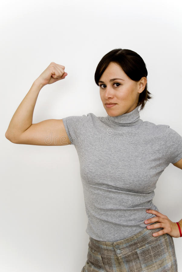 Young strong woman stock photo