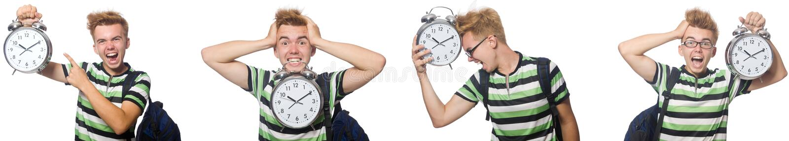 The young student with alarm-clock in time management concept royalty free stock images
