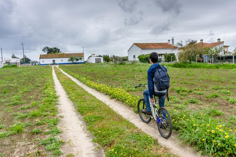 Young student with backpack and bicycle. Go to school. Copy spac. E for your text. Promotional content royalty free stock photos