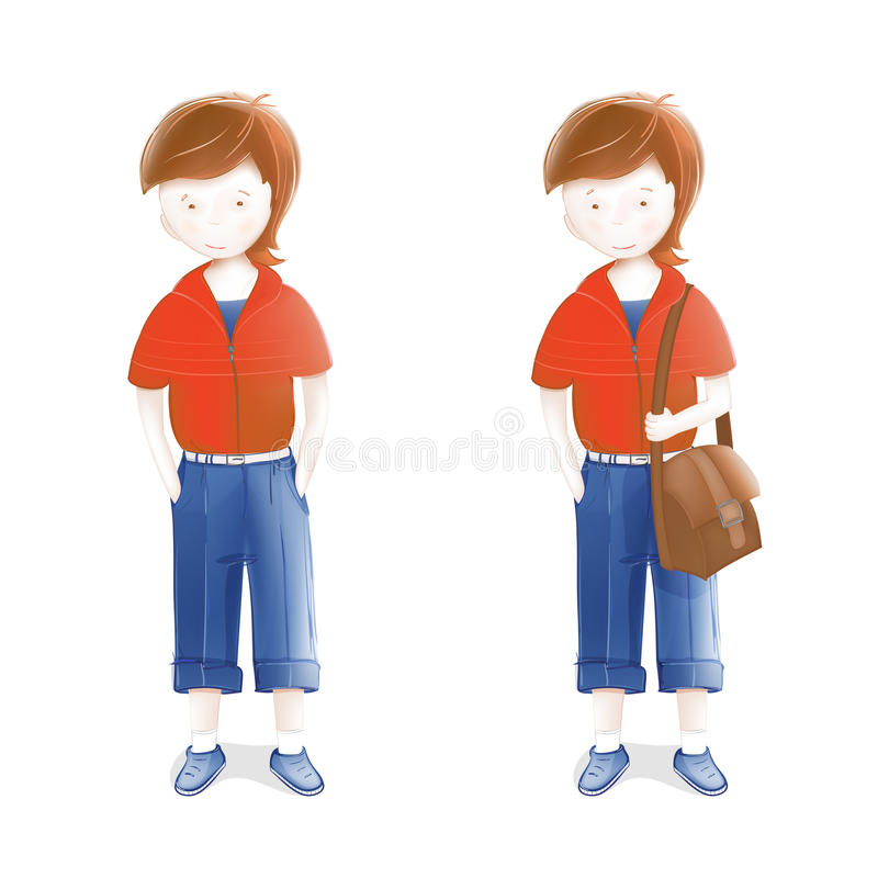 Download Young Student With A Bag Going To School Stock Vector - Image: 26067109