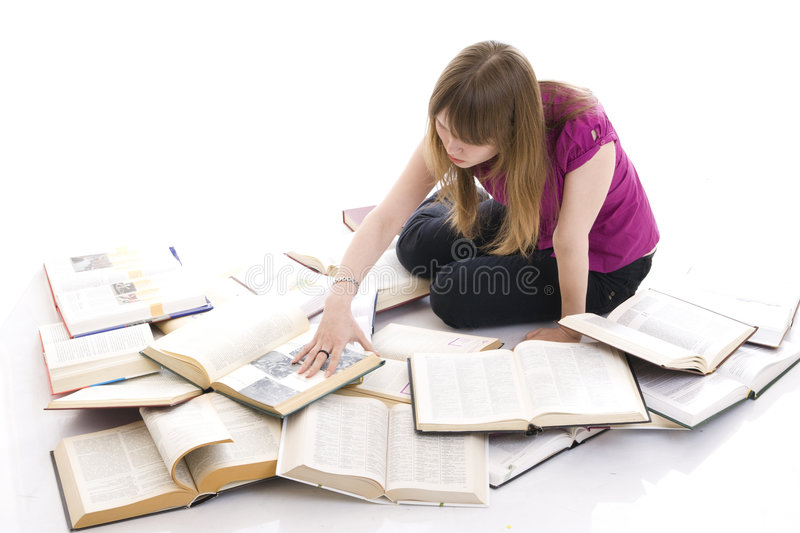 The young student with the books stock photo