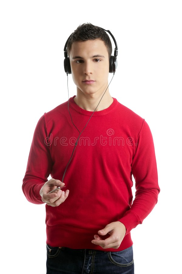 Download Young Student Boy Dress In Red Hearing Mp3 Music Stock Photo - Image of audio, music: 8522598