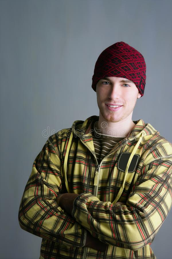Download Young Student Boy With Red Cap And Yellow Jacket Stock Photo - Image: 13980078