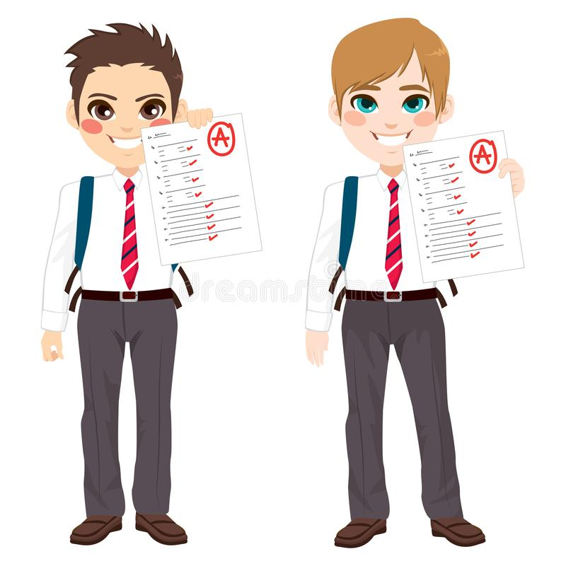 Boy Grades Tests vector illustration