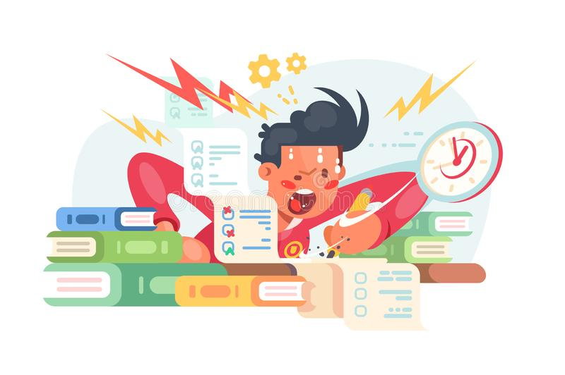 Young student before exams. Vector illustration. Scared boy doing some hard assignments and preparing for module work. Man panicking hard flat style design stock illustration