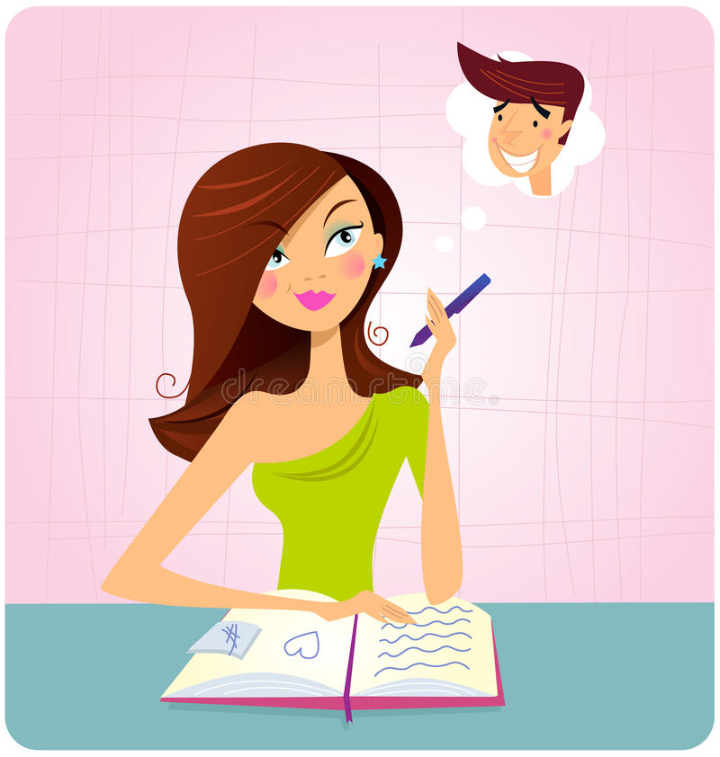 Young student girl is daydreaming while studying vector illustration