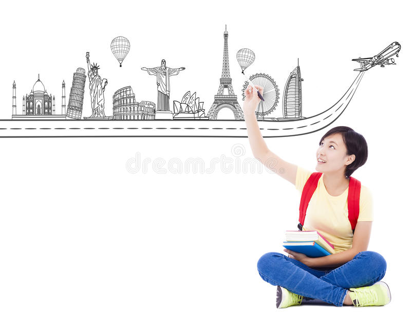Young student girl drawing a travel trip landmark. Over white background stock images