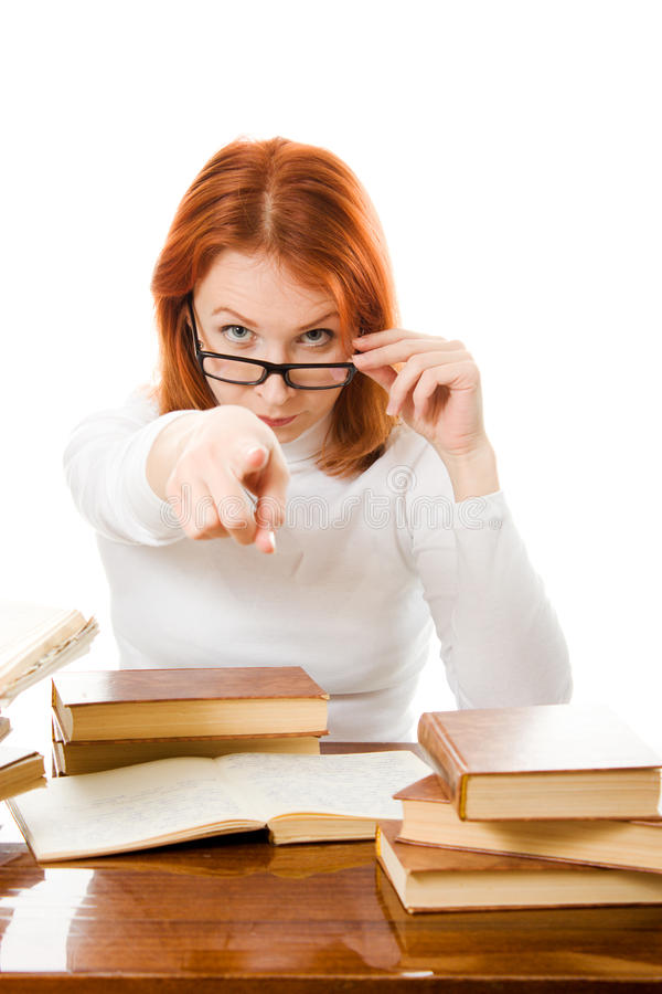 Download Young Student With Her Books In Glasses Stock Photo - Image: 25039018