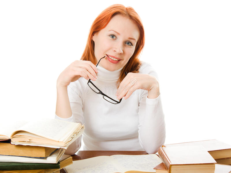 Download Young Student With Her Books In Glasses Stock Image - Image: 25039103
