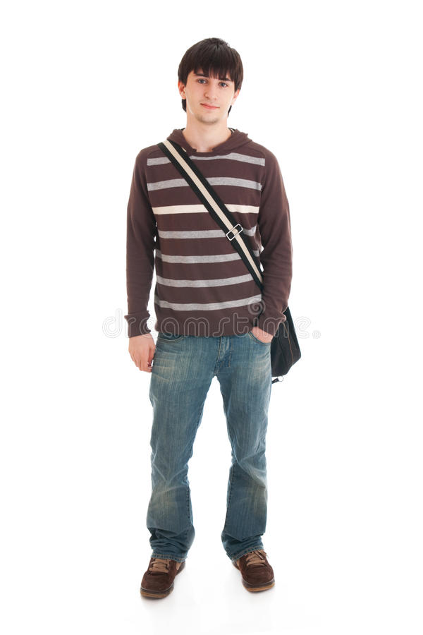 The young student isolated on a white royalty free stock photos