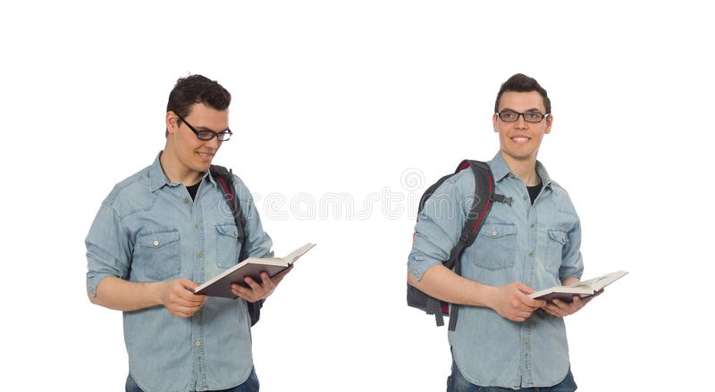 The young student isolated on white stock photos