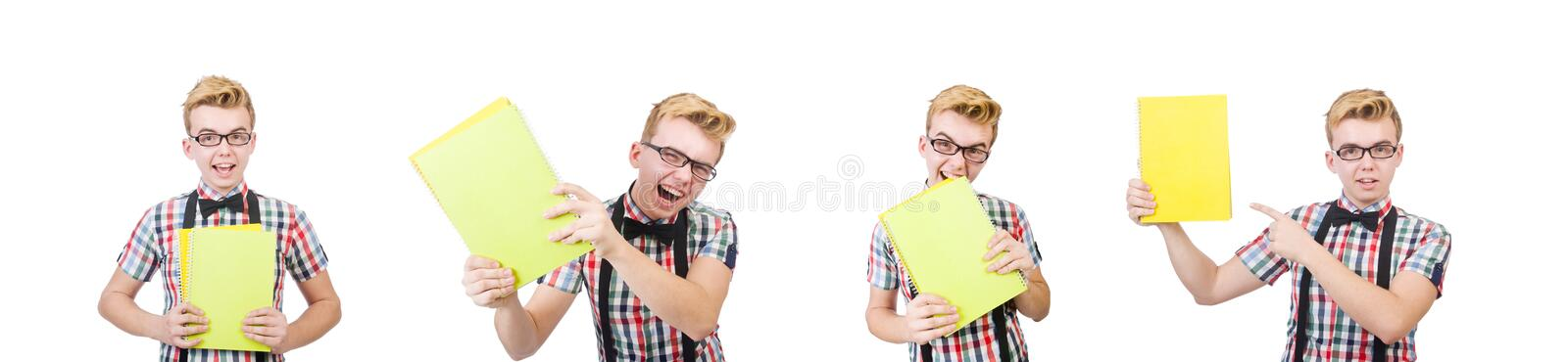 Young student isolated on the white background royalty free stock photo