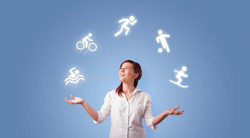 Person juggle with hobbies concept royalty free stock photography