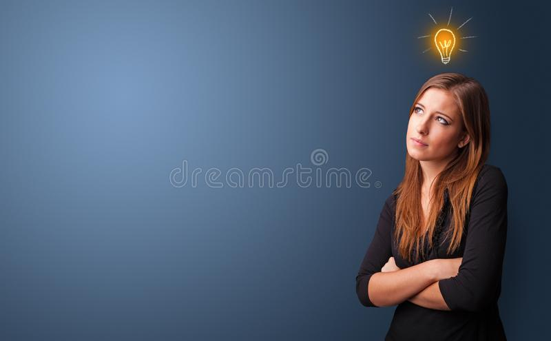 Young student looking for new idea stock photography