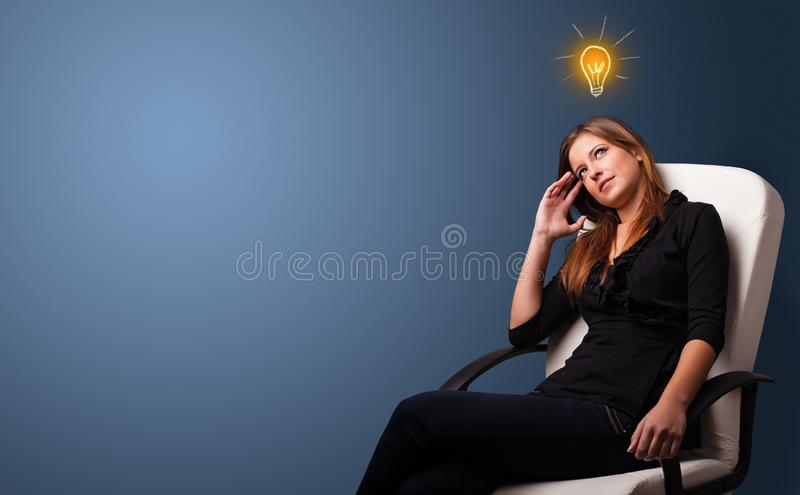 Young student looking for new idea stock image