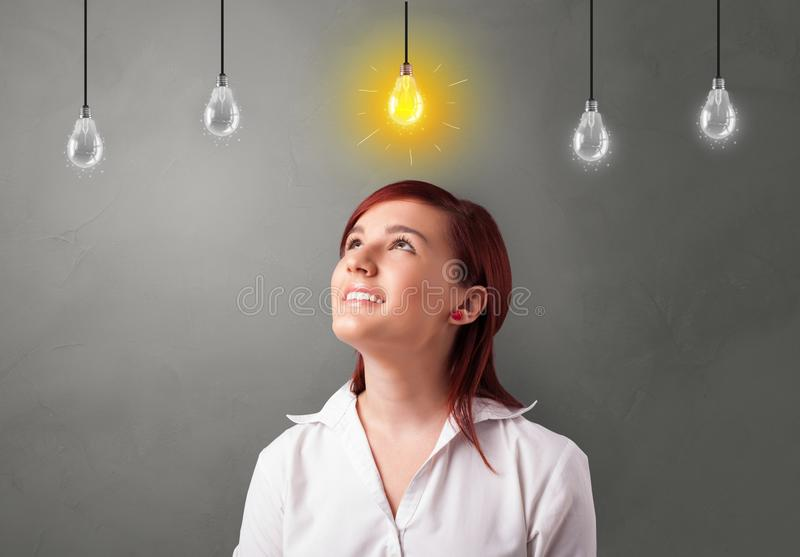 Young student looking for new idea royalty free stock photo