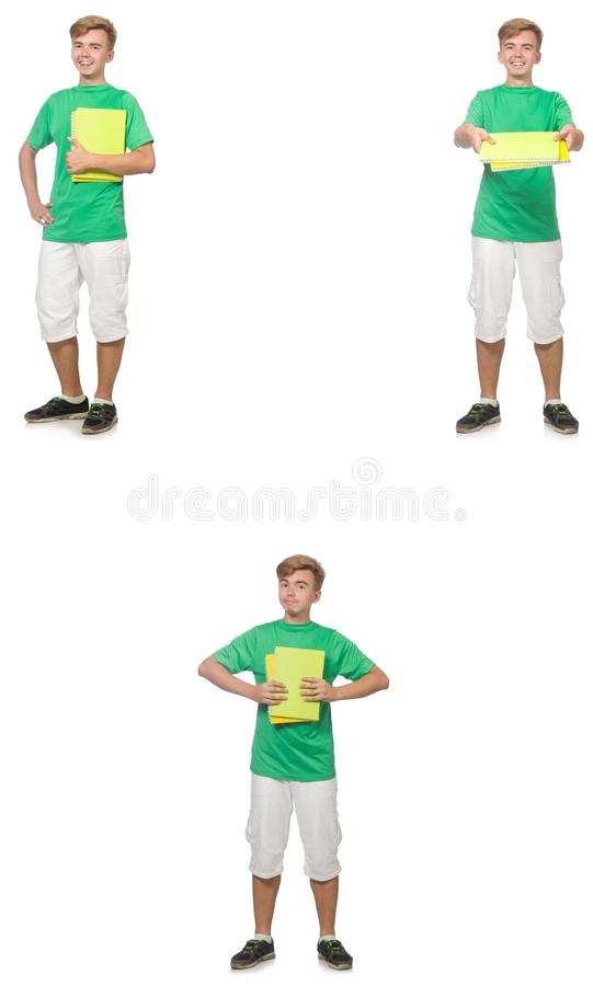 Young student with notes isolated on white royalty free stock photography