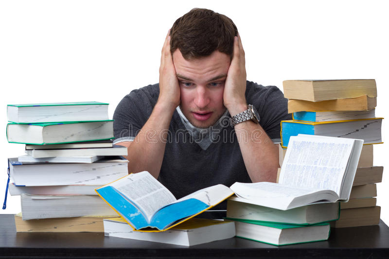 Download Young Student Overwhelmed With Studying Stock Image - Image: 27232321