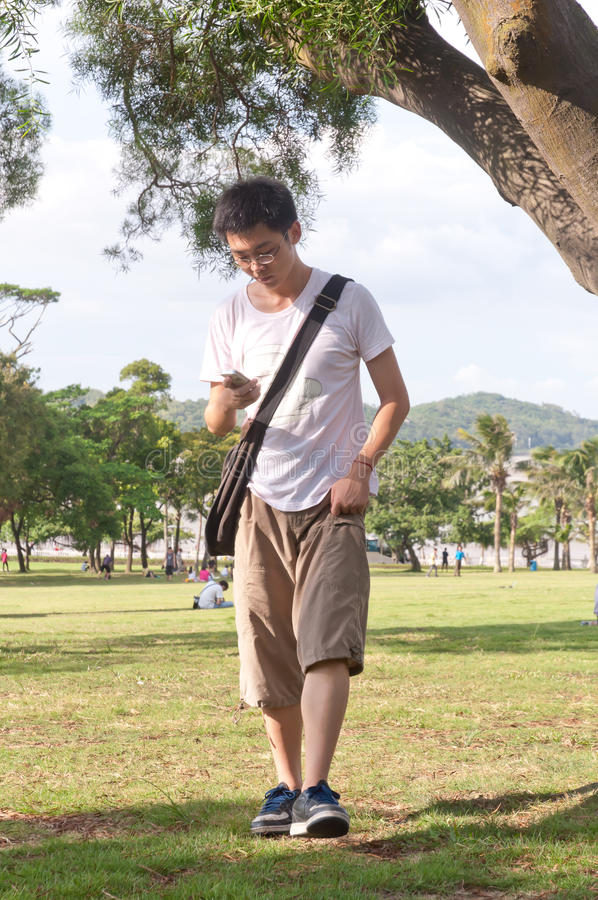 Download Young student at park stock image. Image of person, handsome - 26705075