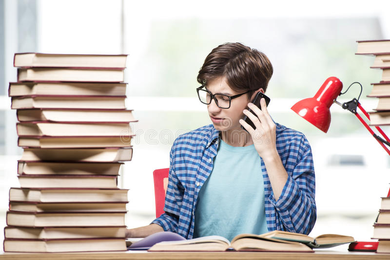 The young student preparing for school exams stock photos