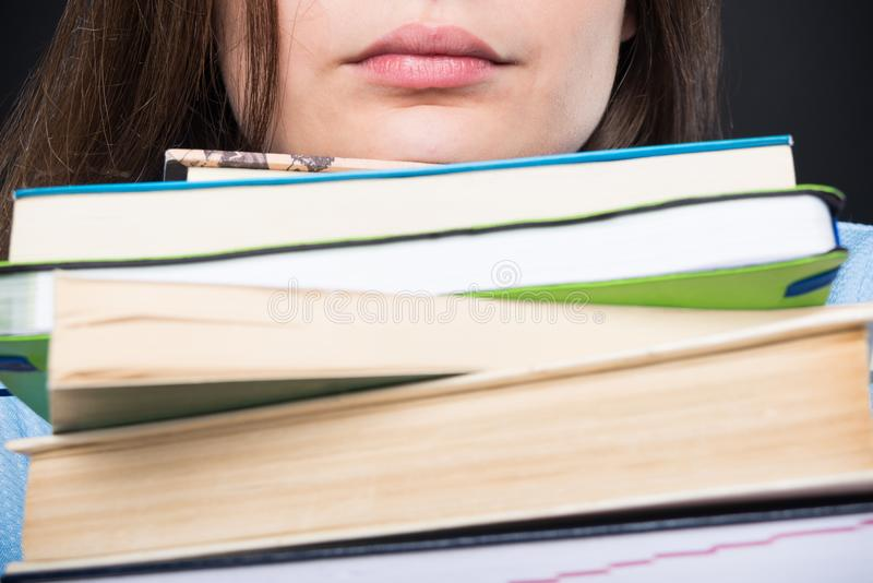 Young student preparing for school exams stock images