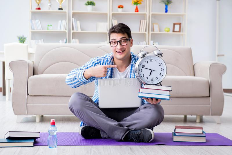 Download The Young Student Preparing For University Exams Stock Image - Image of meditation, alarm: 120584697