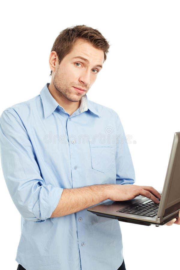 Young student typing on laptop