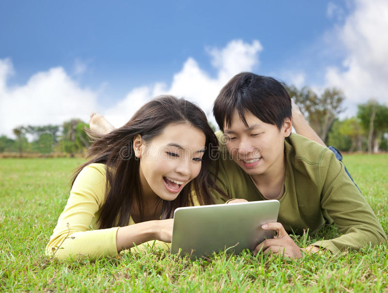 Download Young Student Using Tablet Pc Stock Image - Image: 22413041