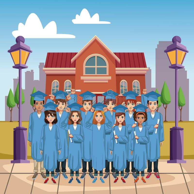 Young students cartoons. Young students on high school graduation vector illustration graphic design vector illustration