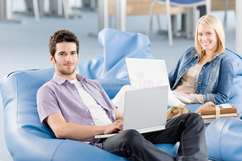 Download Young Students At High-school Working On Laptop Stock Image - Image: 19729353
