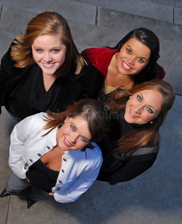 Young students shot from above stock photography