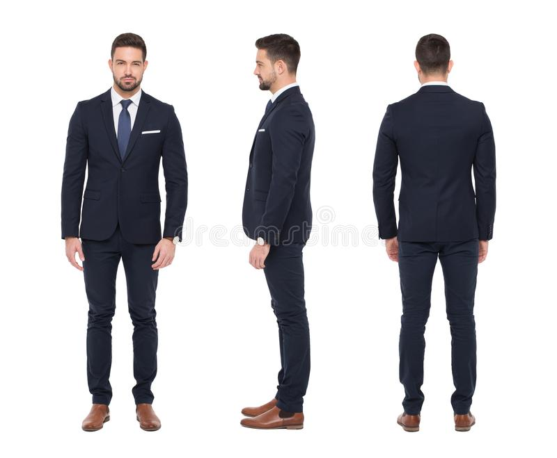 Young caucasian stylish businessman front side rear view isolate. Young stylish caucasian businessman, front, side, rear view, isolated on white background stock photo